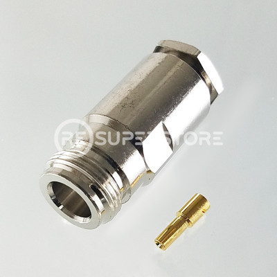 N Female Connector Clamp Attachment Coax J400, LMR400, Nickel Plating