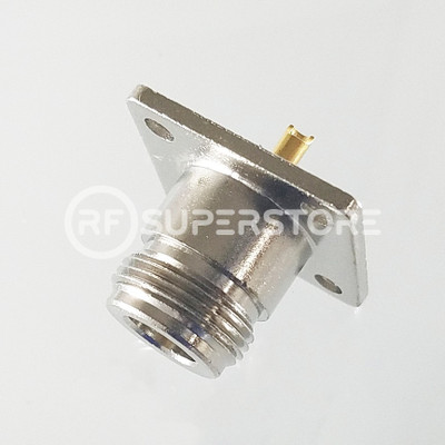 N Female Panel Mount 4-hole Connector Solder Attachment Terminal, Nickel Plating