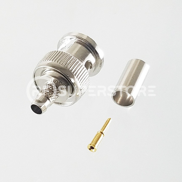 BNC Male Connector Clamp Attachment Coax RG8, RG9, RG213, Nickel Plating