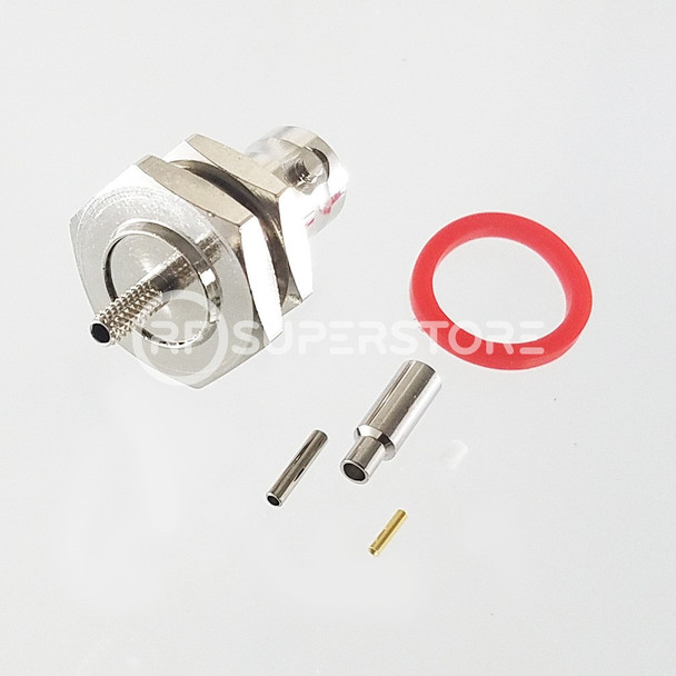 BNC Female Bulkhead Rear Mount Connector Crimp Attachment Coax RG178, RG196, 0.8D-2V, Nickel Plating, Water Resistant