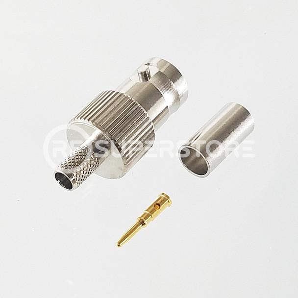 Reverse Polarity BNC Female Connector Crimp Attachment Coax RG55A, RG58A, RG58C, Nickel Plating