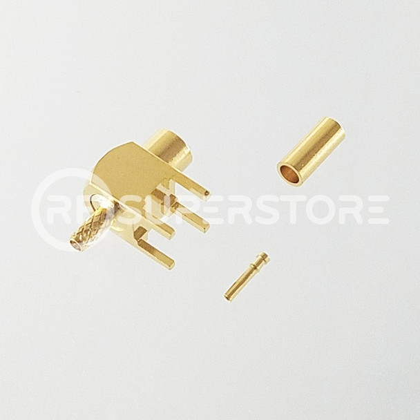 MCX Jack Right Angle Connector Crimp Attachment PCB Through Hole, RG178, RG196, Gold Plating