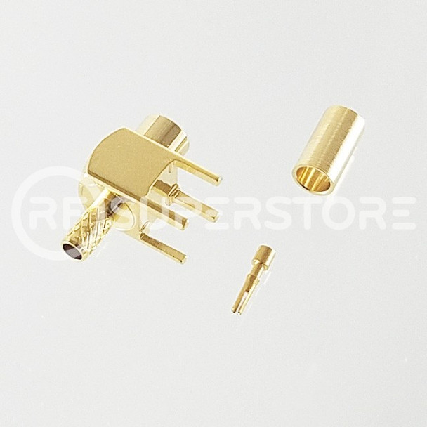 MCX Jack Right Angle Connector Crimp Attachment PCB Through Hole, RG174, RG188, Gold Plating