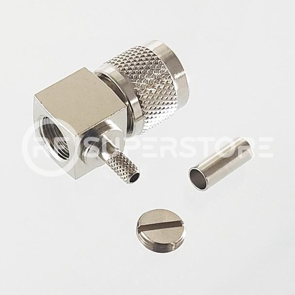 Mini UHF Male Right Angle Connector Crimp Attachment Coax RG174, RG188, RG316, Nickel Plating