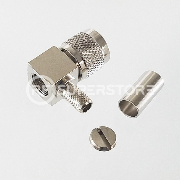 Mini UHF Male Right Angle Connector Crimp Attachment Coax RG55, RG58, RG55A, Nickel Plating