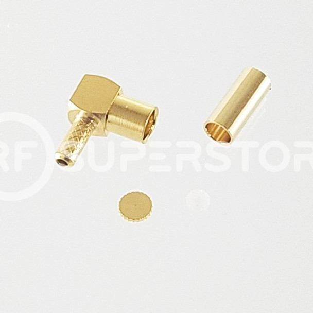 MMCX Jack Right Angle Connector Crimp Attachment Coax RG178, RG196, 0.8D-2V, Gold Plating