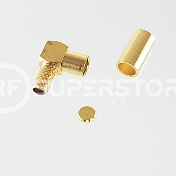 MMCX Jack Right Angle Connector Crimp Attachment Coax RG174, RG188, RG316, Gold Plating