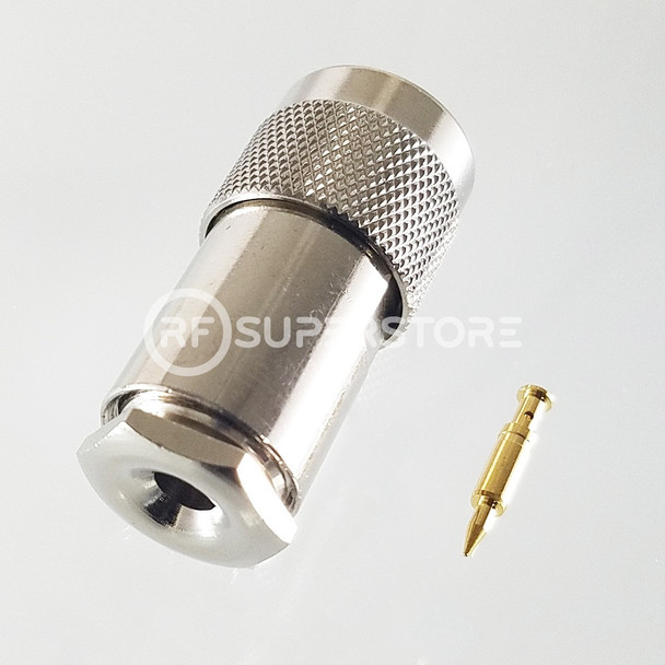 N Male Connector Clamp Attachment Coax RG55, RG58, RG55A, Nickel Plating