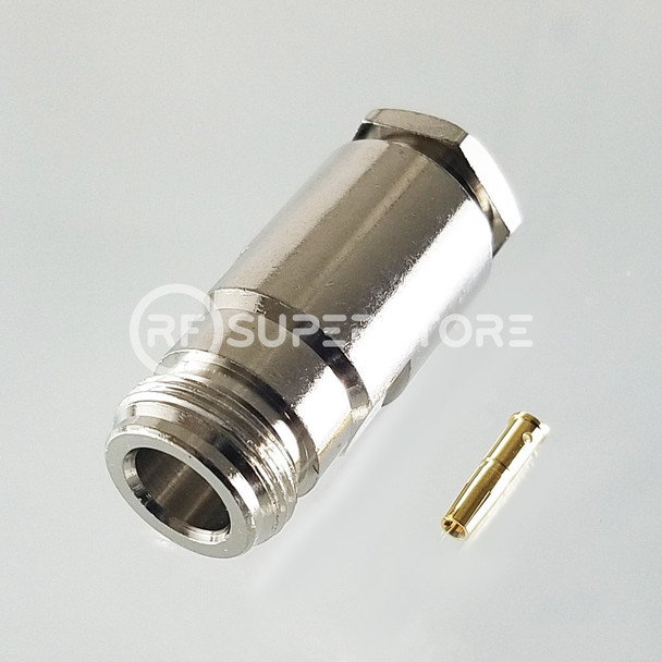 N Female Connector Clamp Attachment Coax RG8, RG9, RG213, Nickel Plating