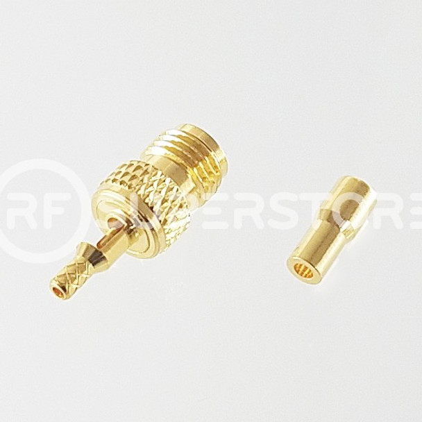 Reverse Polarity SMA Female Connector Crimp Attachment Coax 1.13mm, 1.32mm, 1.37mm, Gold Plating