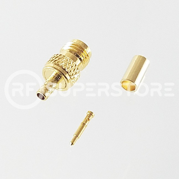 Reverse Polarity SMA Female Connector Crimp Attachment Coax RG174, RG188, RG316, Gold Plating