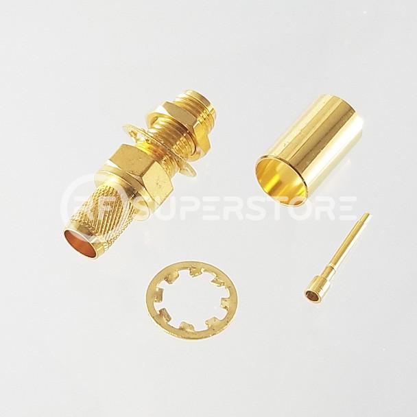 Reverse Polarity SMA Female Bulkhead Rear Mount Connector Crimp Attachment Coax LMR240, HPF240, Gold Plating