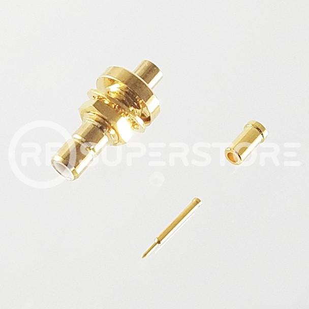 SMB Jack Bulkhead Rear Mount Connector Crimp Attachment Coax RG178, RG196, 0.8D-2V, Gold Plating
