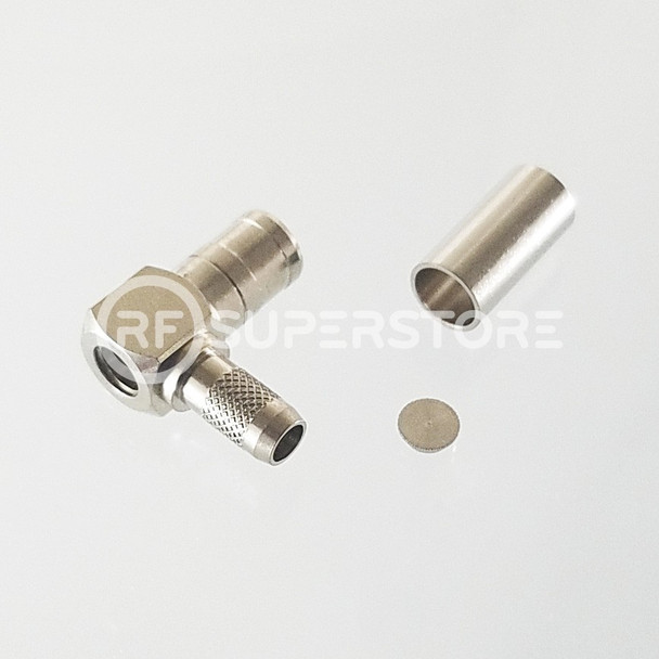 SMB Plug Right Angle Connector Crimp Attachment Coax RG55, RG58, RG55A, Nickel Plating