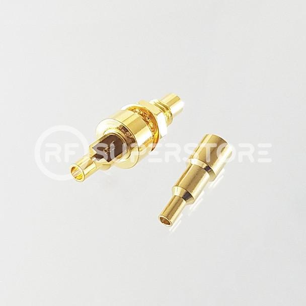SMC Jack Bulkhead Rear Mount Connector Crimp Attachment Coax 1.13mm, 1.32mm, 1.37mm, Gold Plating