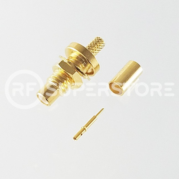 SMC Jack Bulkhead Rear Mount Connector Crimp Attachment Coax RG174, RG188, RG316, Gold Plating