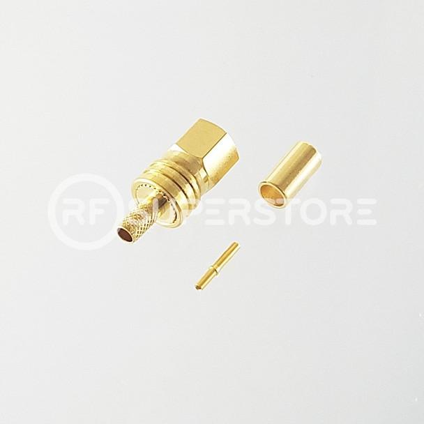 SMC Plug Connector Crimp Attachment Coax RG174, RG188, RG316, Gold Plating