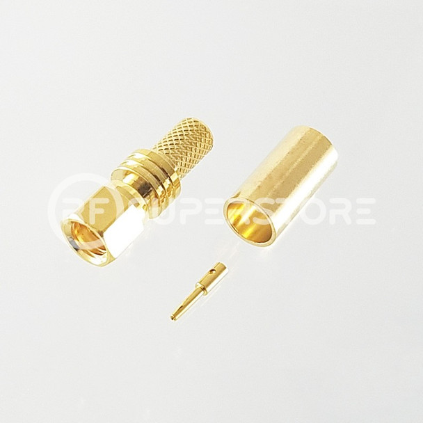 SMC Plug Connector Crimp Attachment Coax RG55A, RG58A, RG58C, Gold Plating