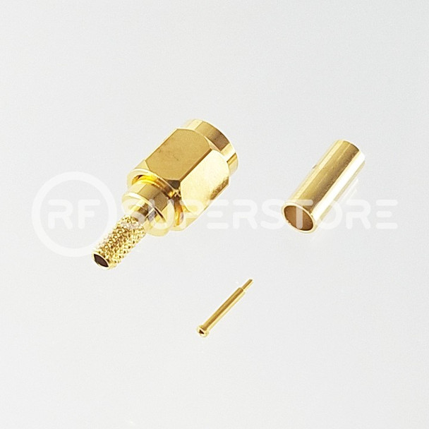 SSMA Male Connector Crimp Attachment Coax RG174, RG188, RG316, Gold Plating