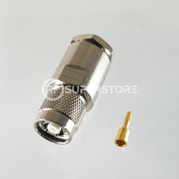Reverse Polarity TNC Male Connector Clamp Attachment Coax J400, LMR400, Nickel Plating