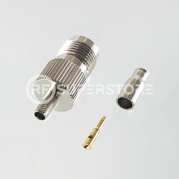 Reverse Polarity TNC Female Connector Crimp Attachment Coax RG174, RG188, RG316, Nickel Plating