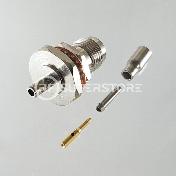 Reverse Polarity TNC Female Bulkhead Rear Mount Connector Crimp Attachment Coax RG174, RG188, RG316, Nickel Plating, Water Resistant