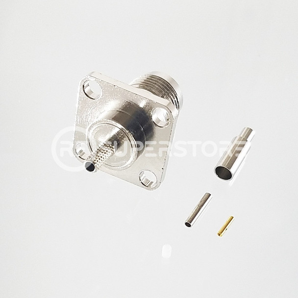 Reverse Polarity TNC Female Panel Mount 4-hole Connector Crimp Attachment Coax RG178, RG196, 0.8D-2V, Nickel Plating