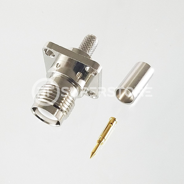 Reverse Polarity TNC Female Panel Mount 4-hole Connector Crimp Attachment Coax RG55A, RG58A, RG58C, Nickel Plating