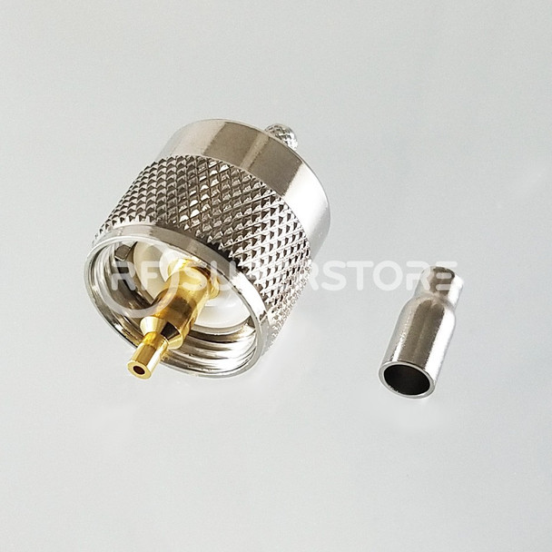 UHF Male Connector Crimp Attachment Coax RG174, RG188, RG316, Nickel Plating