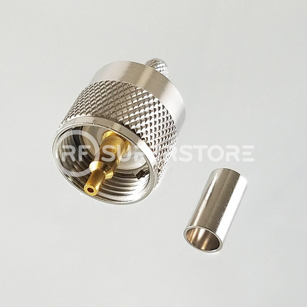 UHF Male Connector Crimp Attachment Coax RG55, RG58, Nickel Plating