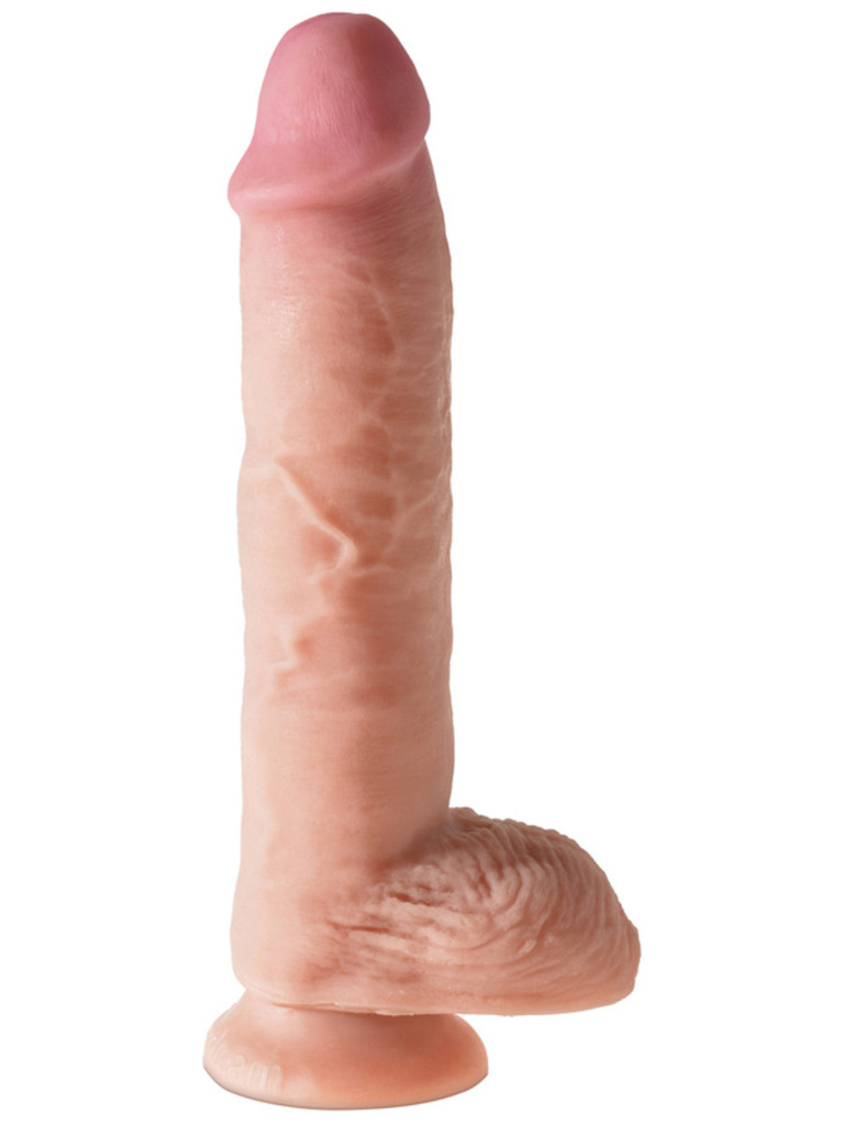 "King Cock Dual Density 10"" Fat Cock with Balls - Flesh"