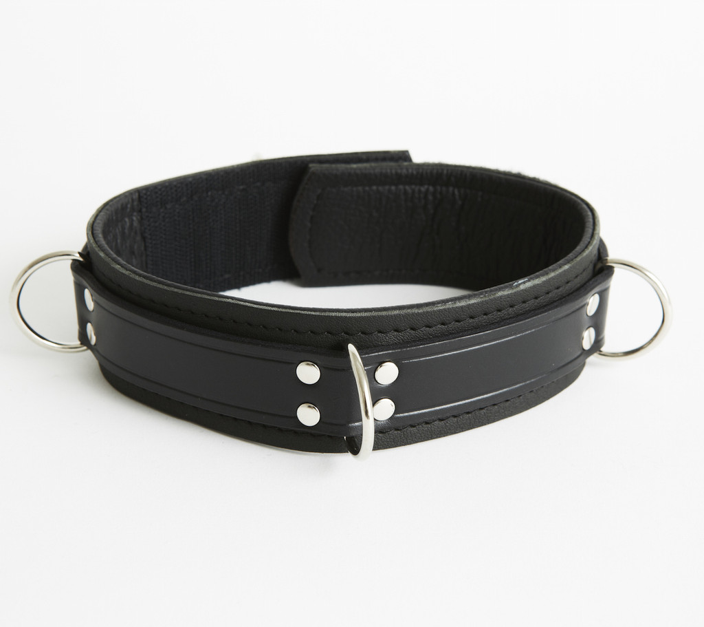 Bondage 4 Ring Collar With Velcro