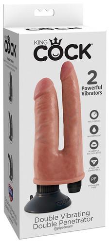 King Cock Double Vibrating Double Penetrator - Flesh