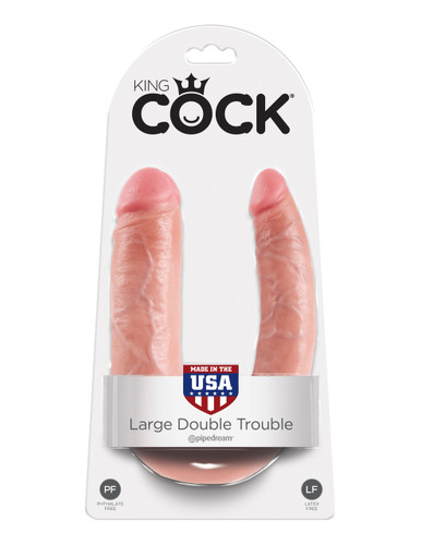 King Cock U-Shaped Large Double Trouble - Flesh