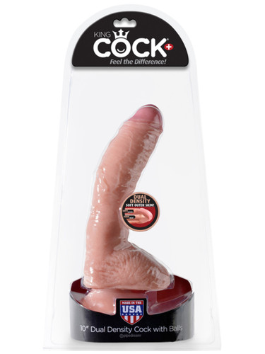 "King Cock Plus Dual Density 10"" Cock with Balls - Flesh"