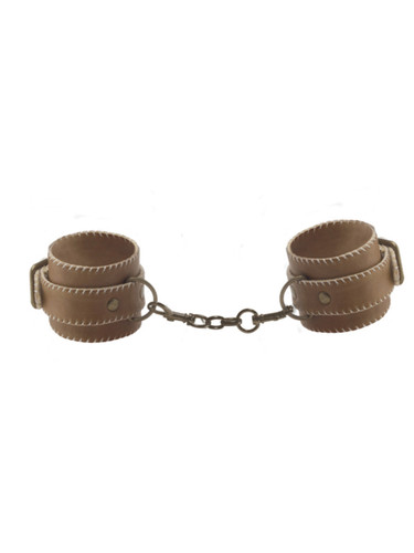 Leather Ankle Cuffs - Brown