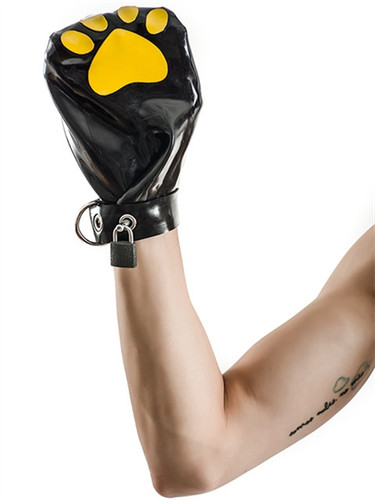 Mister B FETCH Rubber Puppy Mitts Black & Yellow