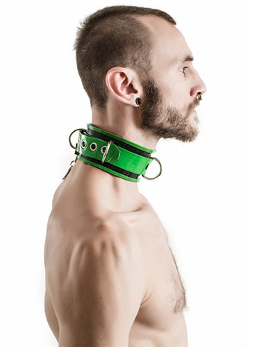 Mister B Rubber Collar Lockable Black & Green