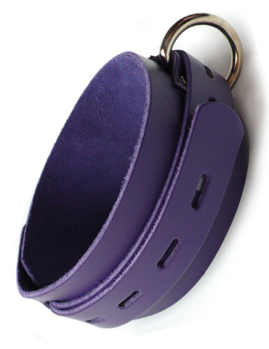 Purple Leather Collar with Locking Buckle