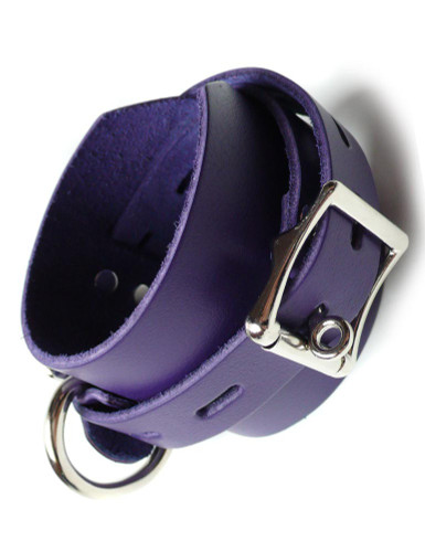 Purple Leather Ankle Cuffs with Locking Buckle