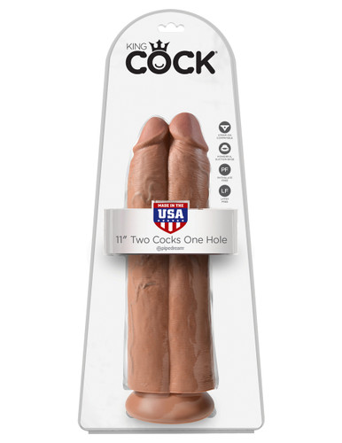 """King Cock 11"""" Two Cocks One Hole - Tan"""