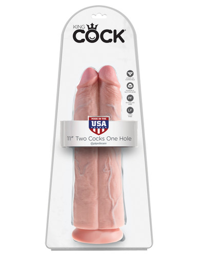 """King Cock 11"""" Two Cocks One Hole - Flesh"""