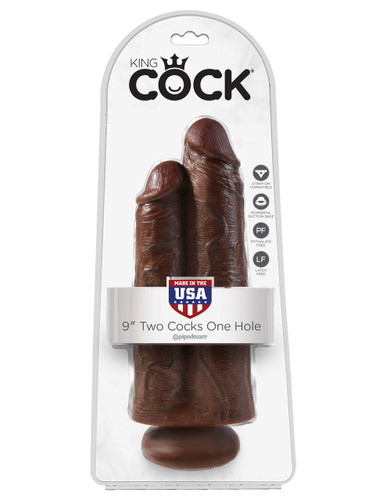 "King Cock 9"" Two Cocks One Hole - Brown"