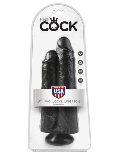 """King Cock 9"""" Two Cocks One Hole - Black"""