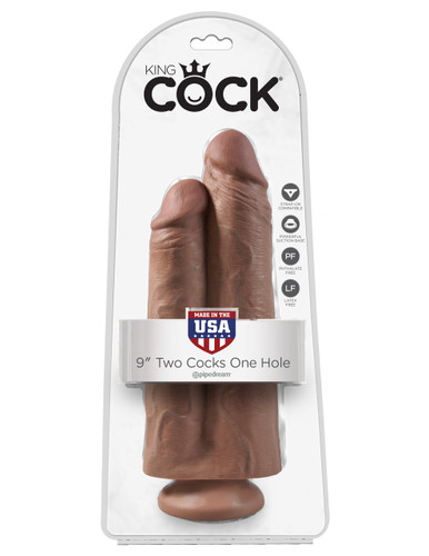 "King Cock 9"" Two Cocks One Hole - Tan"