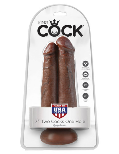 """King Cock 7"""" Two Cocks One Hole - Brown"""