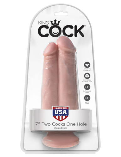 "King Cock 7"" Two Cocks One Hole - Flesh"