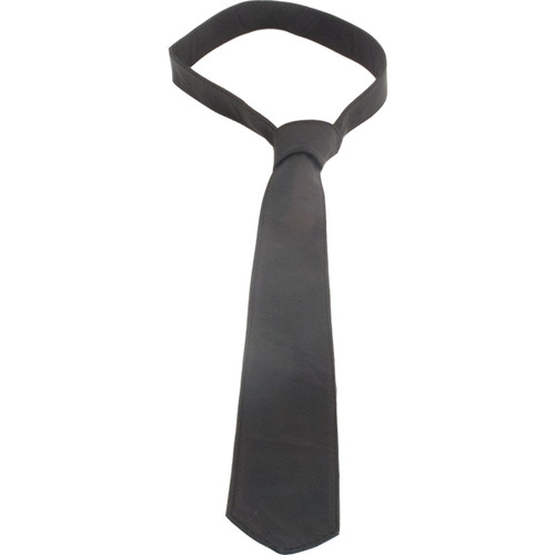 Mister B Leather Tie Stitched Black
