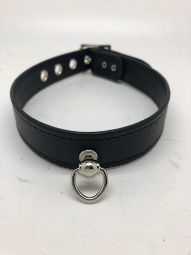 Leather Post & Ring Collar