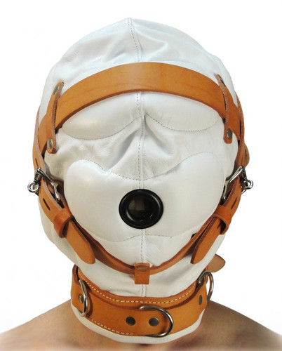 Total Sensory Deprivation White Leather Hood - Small / Medium